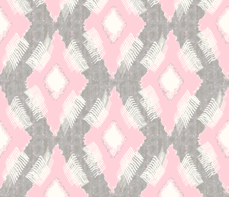Ikat Diamond Pink Gray fabric by lulabelle on Spoonflower - custom fabric