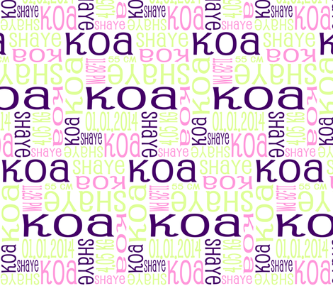 Personalised Birth Details - Purple Pink Green fabric by shelleymade on Spoonflower - custom fabric