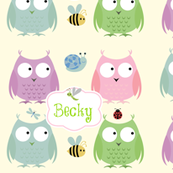Owl Friends -Pink  green text PERSONALIZED Becky