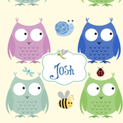 Owl Friends - blues personalized small label