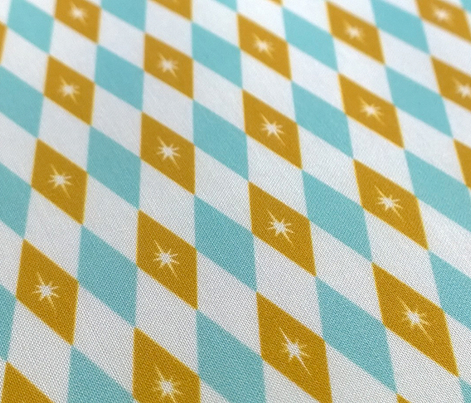 Golden Nugget (Blue) || midcentury modern diamonds texture barkcloth bark cloth vintage crown Las Vegas atomic stars starburst harlequin