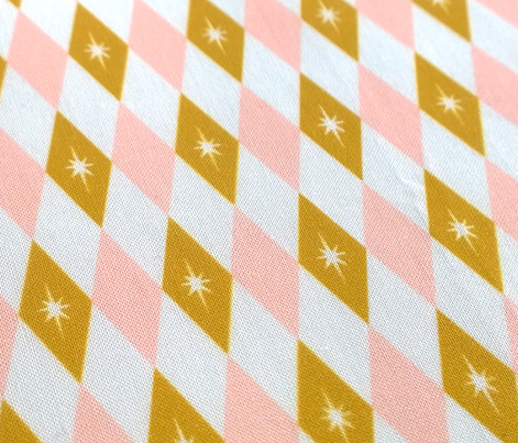 Golden Nugget (Pink) || midcentury modern diamonds texture barkcloth bark cloth vintage crown Las Vegas atomic stars starburst harlequin