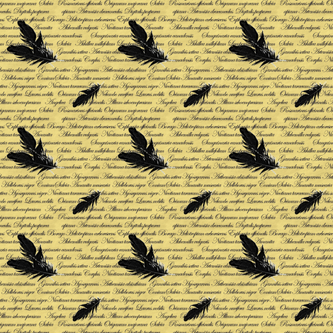 Manuscript with Feathers fabric by arts_and_herbs on Spoonflower - custom fabric