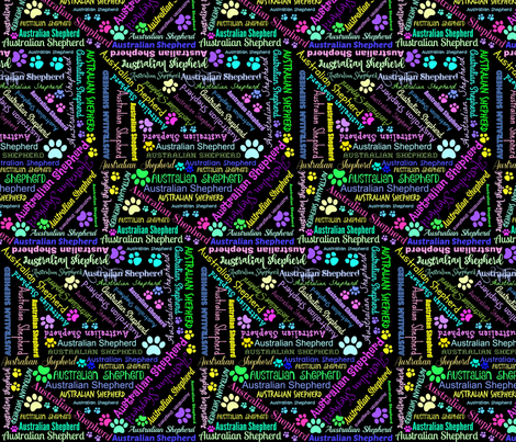 AUSTRALIAN SHEPHERD CRAZY FONTS fabric by bluevelvet on Spoonflower - custom fabric