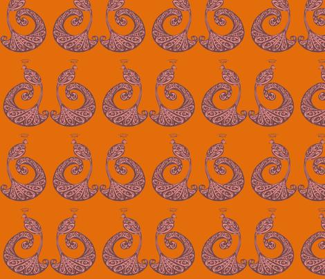 Be Proud! Peacocks - Orange/Red fabric by lottibrown on Spoonflower - custom fabric