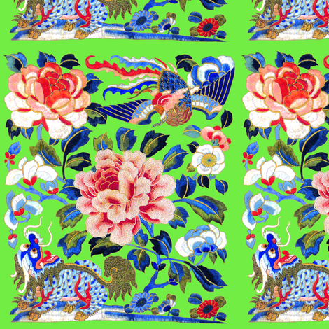 royal novelty thrones embroidery asian japanese china chinese oriental cheongsam unicorns phoenix birds kirin lion garden flowers imperial chinoiserie kings queens museum traditional rank regal korean kabuki geisha yuan ming qing dynasty tapestry kimono v fabric by raveneve on Spoonflower - custom fabric
