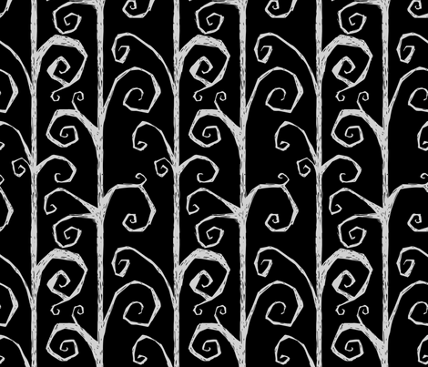 Burton's Vines - black fabric by thecalvarium on Spoonflower - custom fabric