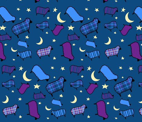 Can't Sleep? Count Sheep!!! fabric by kfrogb on Spoonflower - custom fabric
