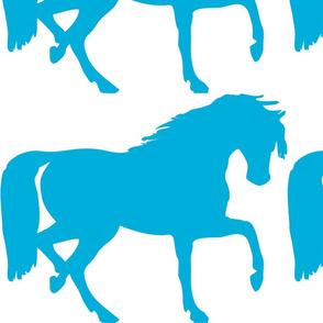 horse silhouette blue