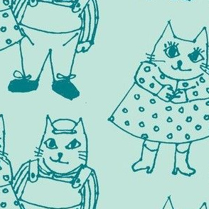 Cat Couple blue