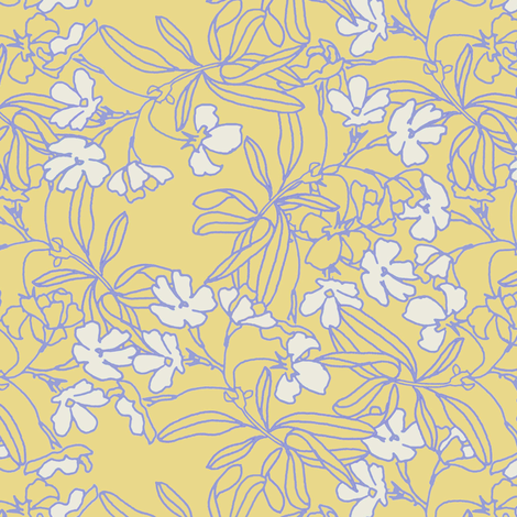 Floral Low Volume Gold fabric by joanmclemore on Spoonflower - custom fabric