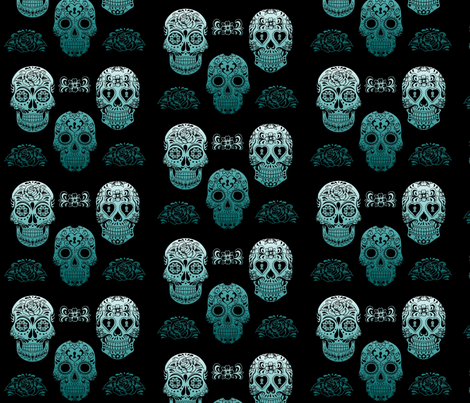 Sugar Skull teal fabric by phatcatpatch on Spoonflower - custom fabric