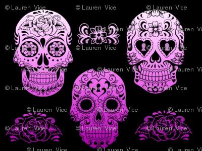 Sugar Skull Purple Ombre
