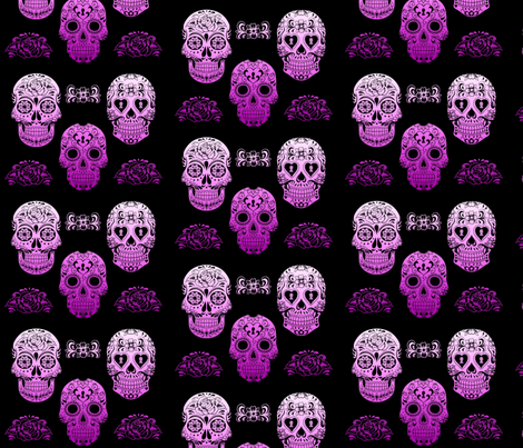 Sugar Skull Purple Ombre fabric by phatcatpatch on Spoonflower - custom fabric