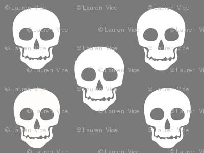 Skull White on Gray