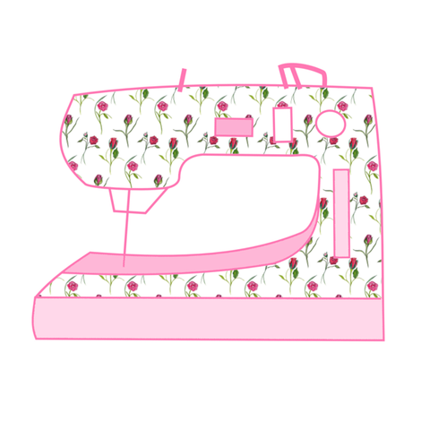 Dancing Roses Sewing Machine Pink fabric by de-ann_black on Spoonflower - custom fabric