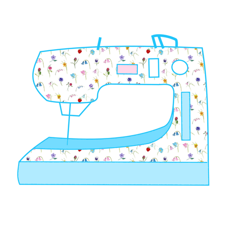 Fairytale Floral Sewing Machine Blue fabric by de-ann_black on Spoonflower - custom fabric