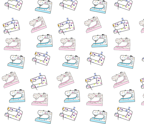 Sewing Machine Fabric Blue, Pink & Butterflies fabric by de-ann_black on Spoonflower - custom fabric