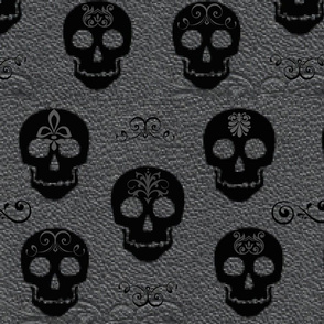 Skull White on Gray-Large