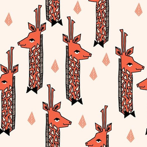 Giraffes - Champagne/Tea Rose/Blush/Coral by Andrea Lauren