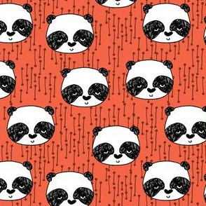 panda  head // coral panda design cute illustrated nursery baby pandas fabric andrea lauren design andrea lauren fabric