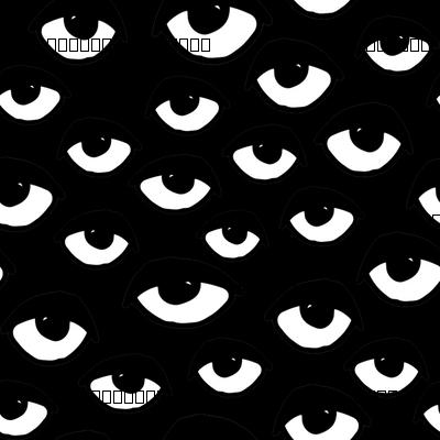 eyes // black and white eye fabric eye pattern eye fabric halloween scary eyes fabric