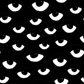 eyes // black and white eye fabric eye pattern eye fabric halloween scary eyes fabric