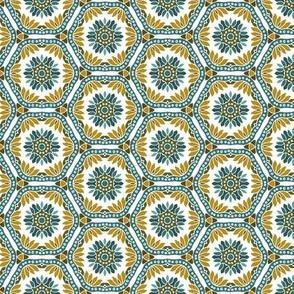 Hex Tile Flowers on white