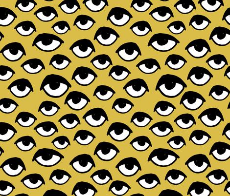 eyes // mustard yellow eyes fabric scary creepy halloween design scary halloween fabric fabric by andrea_lauren on Spoonflower - custom fabric