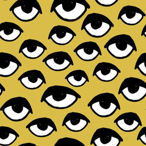 eyes // mustard yellow eyes fabric scary creepy halloween design scary halloween fabric
