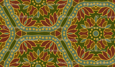 Hex Tile Flowers on deep green