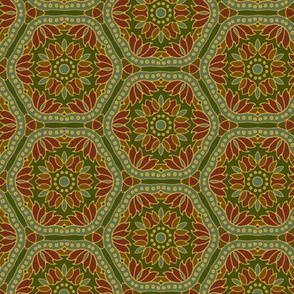 Hex Tile Flowers on deep green