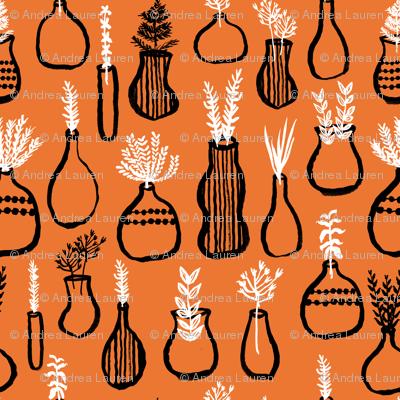 Garden Herbs - Kitchen Series - Orange/Black/White by Andrea Lauren