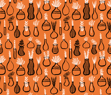 Garden Herbs - Kitchen Series - Orange/Black/White by Andrea Lauren fabric by andrea_lauren on Spoonflower - custom fabric