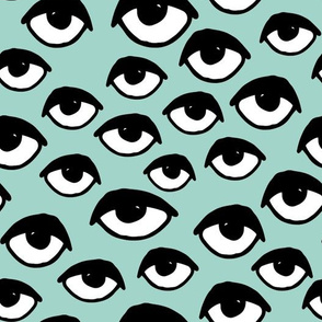eyes // mint eye fabric creepy cute scary eyes design