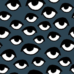 eyes // dark blue eyes fabric scary creepy halloween design eyes