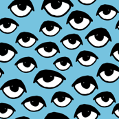 eyes // blue and white scary eyes fabric creepy halloween print pattern andrea lauren fabric