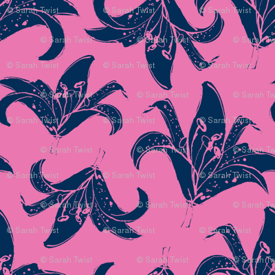 Pink Lily - colour reverse
