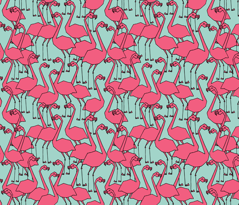 Flock of Flamingo - Pale Turquoise/French Rose by Andrea Lauren fabric by andrea_lauren on Spoonflower - custom fabric