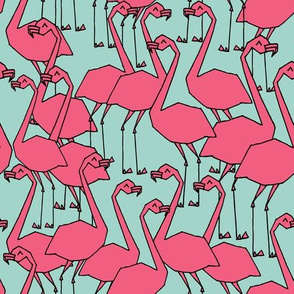 Flock of Flamingo - Pale Turquoise/French Rose by Andrea Lauren