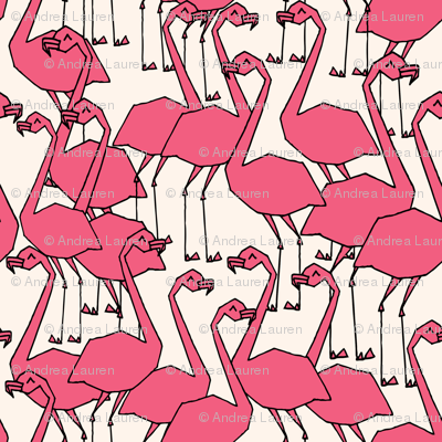 Flock of Flamingos - French Rose/Champagne by Andrea Lauren