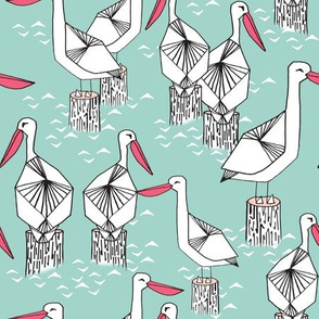 Pelicans - Pale Turquoise/French Rose/White by Andrea Lauren