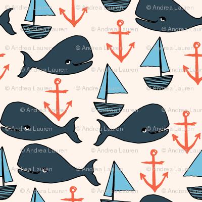nautical whales // nautical ocean coral blue fabric cute nautical whales andrea lauren fabric andrea lauren design
