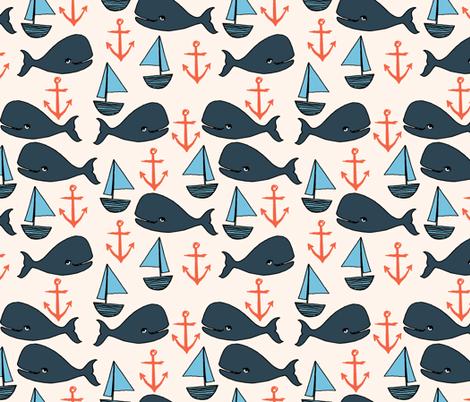 nautical whales // nautical ocean coral blue fabric cute nautical whales andrea lauren fabric andrea lauren design  fabric by andrea_lauren on Spoonflower - custom fabric