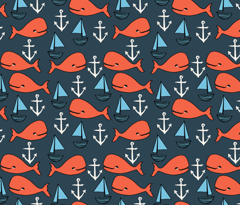 nautical whales // orange and dark navy blue kids nautical fabric whales ocean anchors fabric andrea lauren fabric andrea lauren design fabric by andrea_lauren on Spoonflower - custom fabric