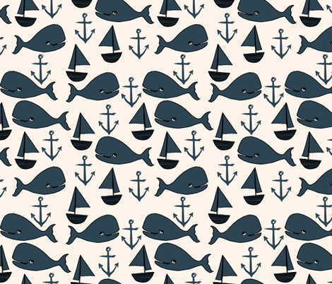 nautical whales // dark navy blue and cream kids nautical ocean anchors nautical nursery fabric andrea lauren fabric cute andrea lauren design fabric by andrea_lauren on Spoonflower - custom fabric