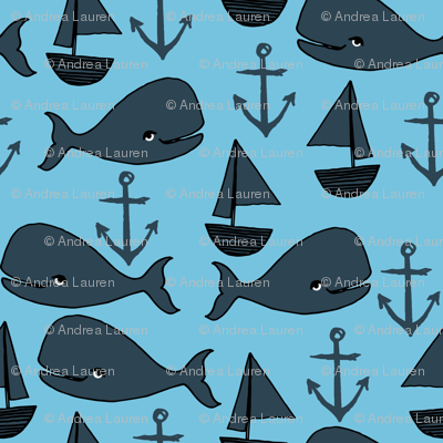 nautical whales // navy blue and soft blue nursery baby cute baby whale ocean animals cute fabric anchors sailboats andrea lauren design