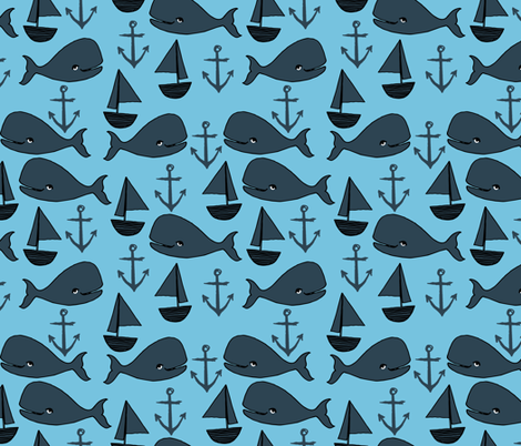 nautical whales // navy blue and soft blue nursery baby cute baby whale ocean animals cute fabric anchors sailboats andrea lauren design fabric by andrea_lauren on Spoonflower - custom fabric