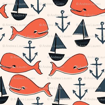 nautical whales // orange cream and dark navy blue kids nautical nursery fabric cute ocean nautical