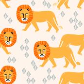 Safari Lion - Champagne/Turmeric/Cadmium Orangeby Andrea Lauren